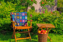 Garden Furniture and Granny Square Blanket