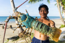 Fisherman Showing the Lobster, Malaysia
