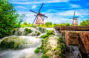 Traditional Dutch Village with Windmills